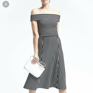 Banana Republic Off the Shoulder Striped Dress